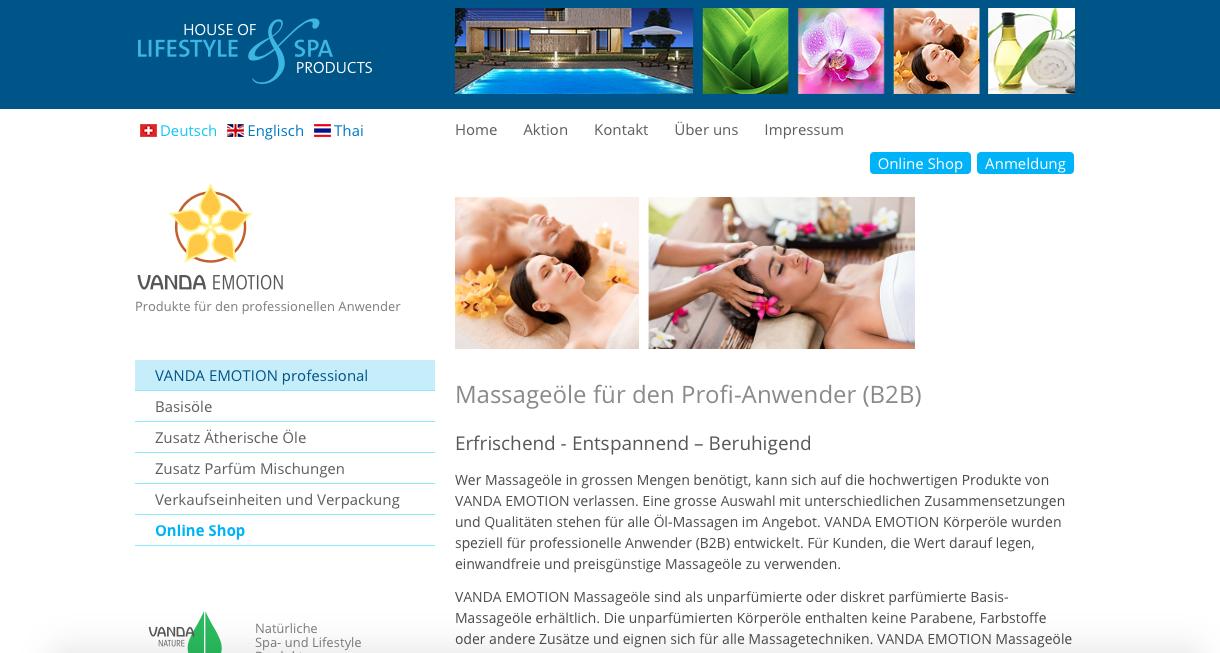 """Für das Massageöl haben wir an """"VANDA EMOTION"""" entscheiden."""